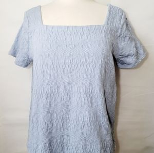 Lucky Brand Blue Textured Top Shirt Medium